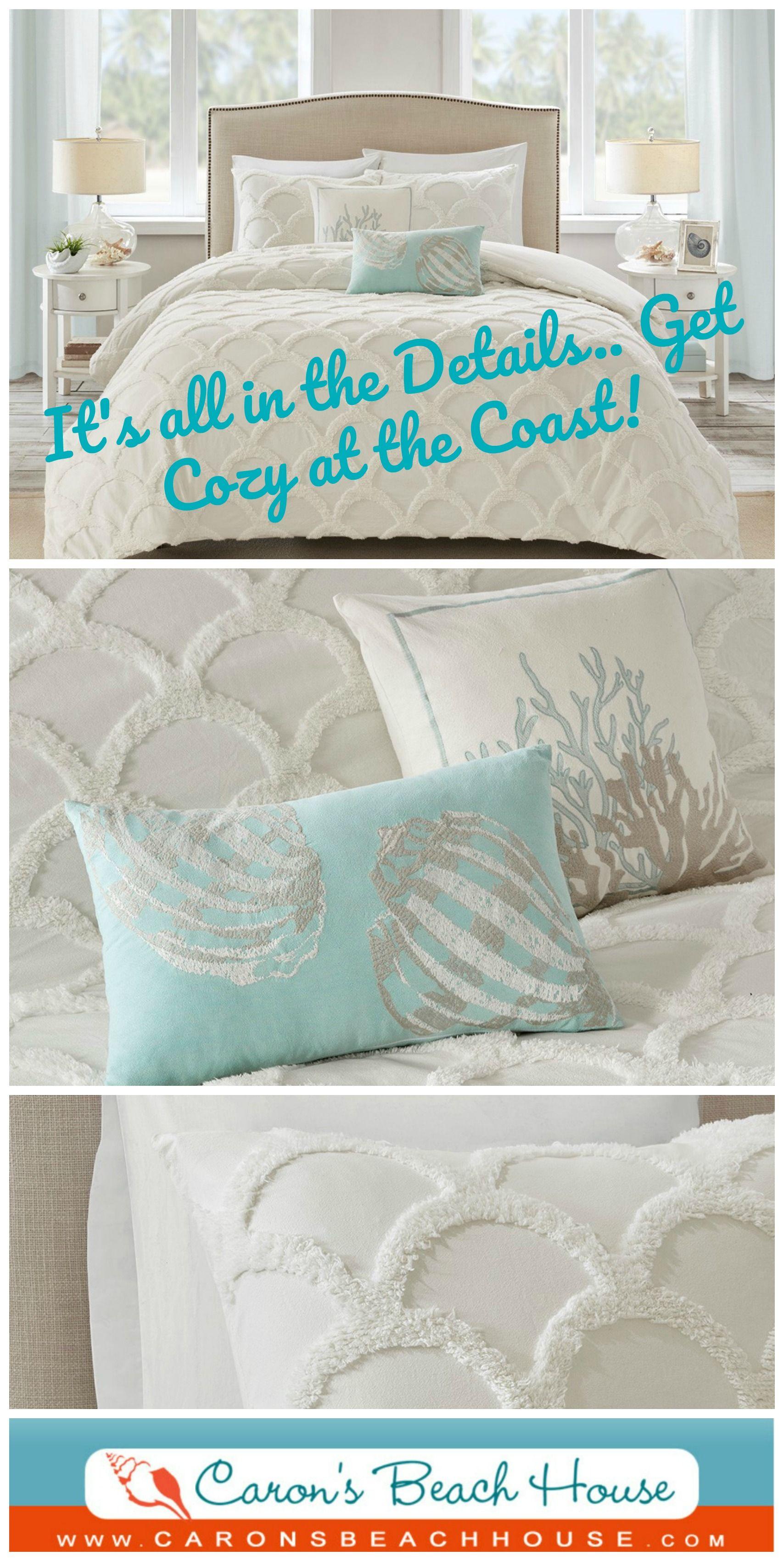 Cannon Beach Chenille 3 Piece Comforter Set Queen Size Beach