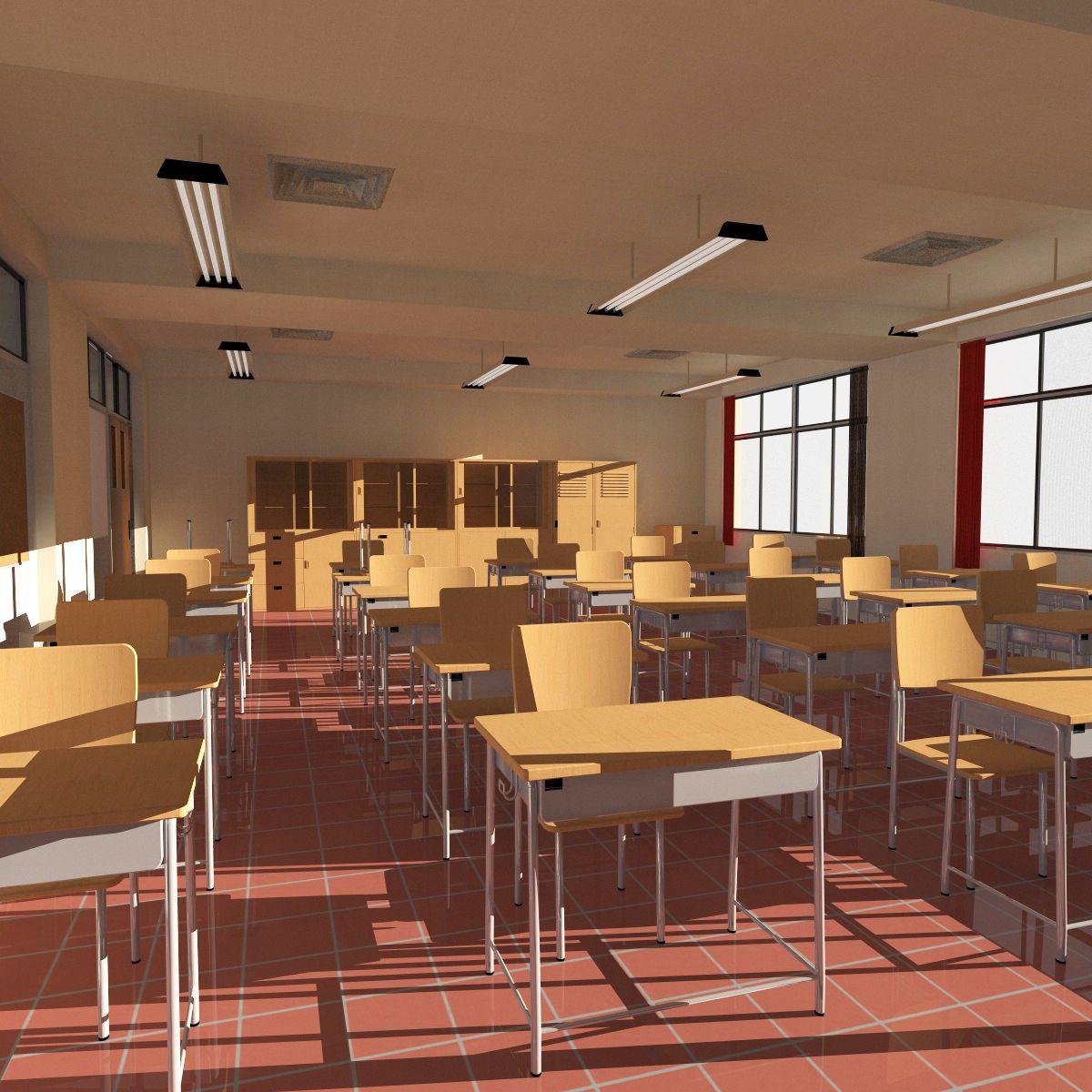 anime classroom 3d model obj 3ds fbx c4d dae skp 4 Dessin