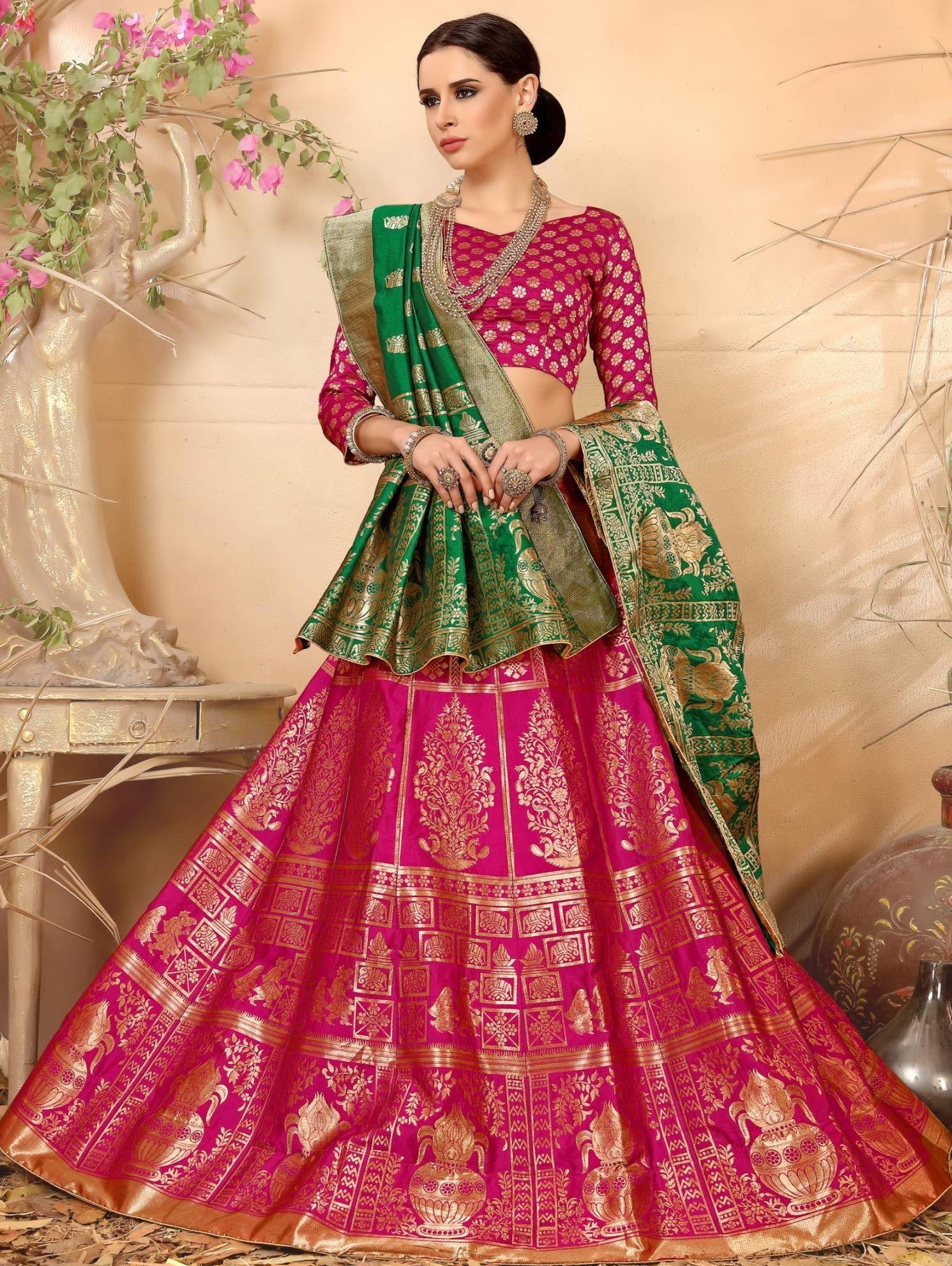 28478c8ae8 Buy Rani Pink Banarasi Silk Jacquard Lehenga Choli With Zari Weaving -  CCAI2292