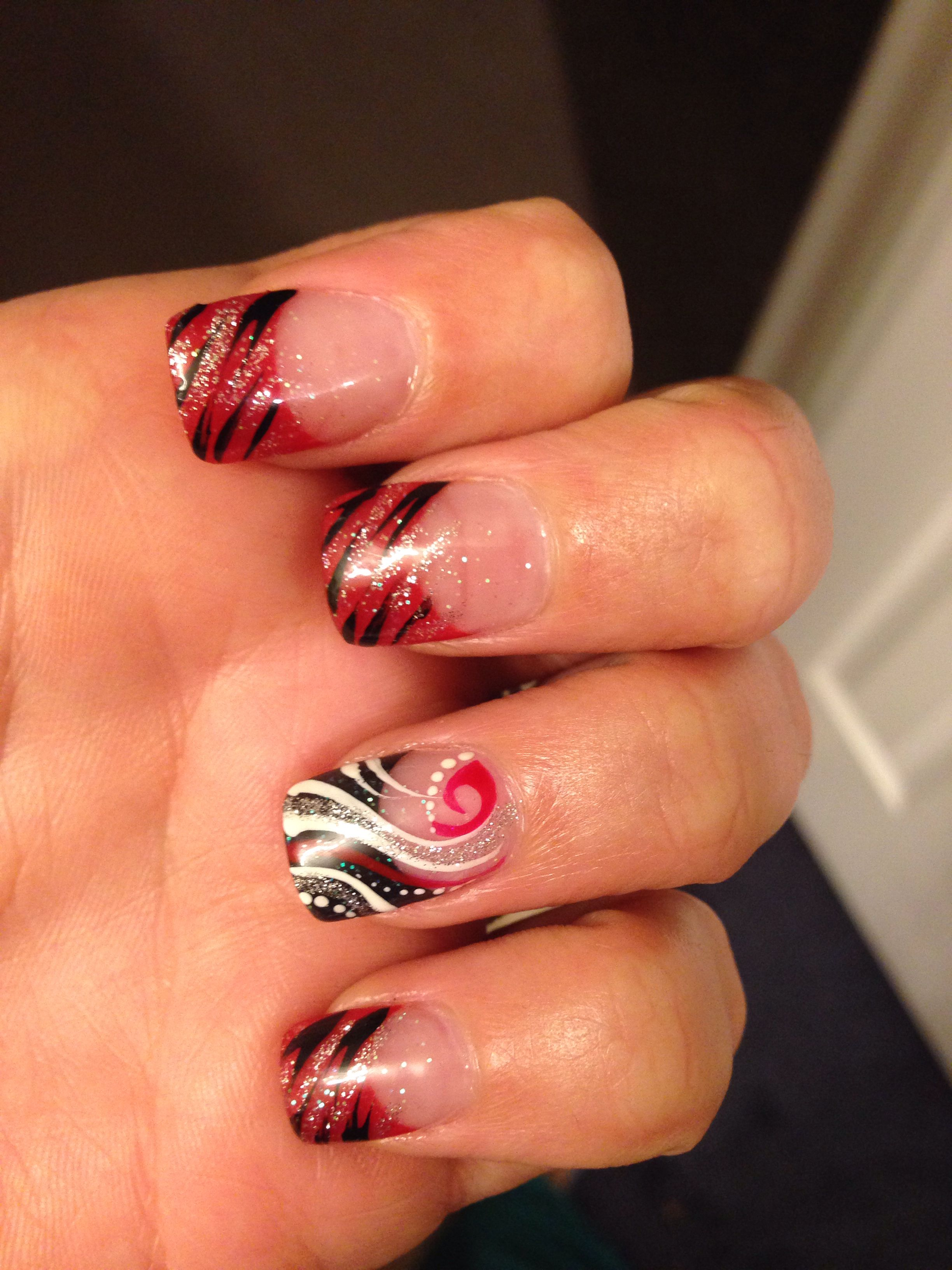wedding nails, colors red,black and white. | my style | pinterest