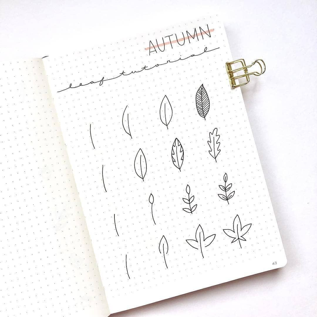 """Bullet Journal Fame! 📒❄️ on Instagram: """"Cherish the beauty of autumn while it lasts! Here's a simple step by step on how to draw autumn leaves doodles. I bet you're gonna fill…"""""""