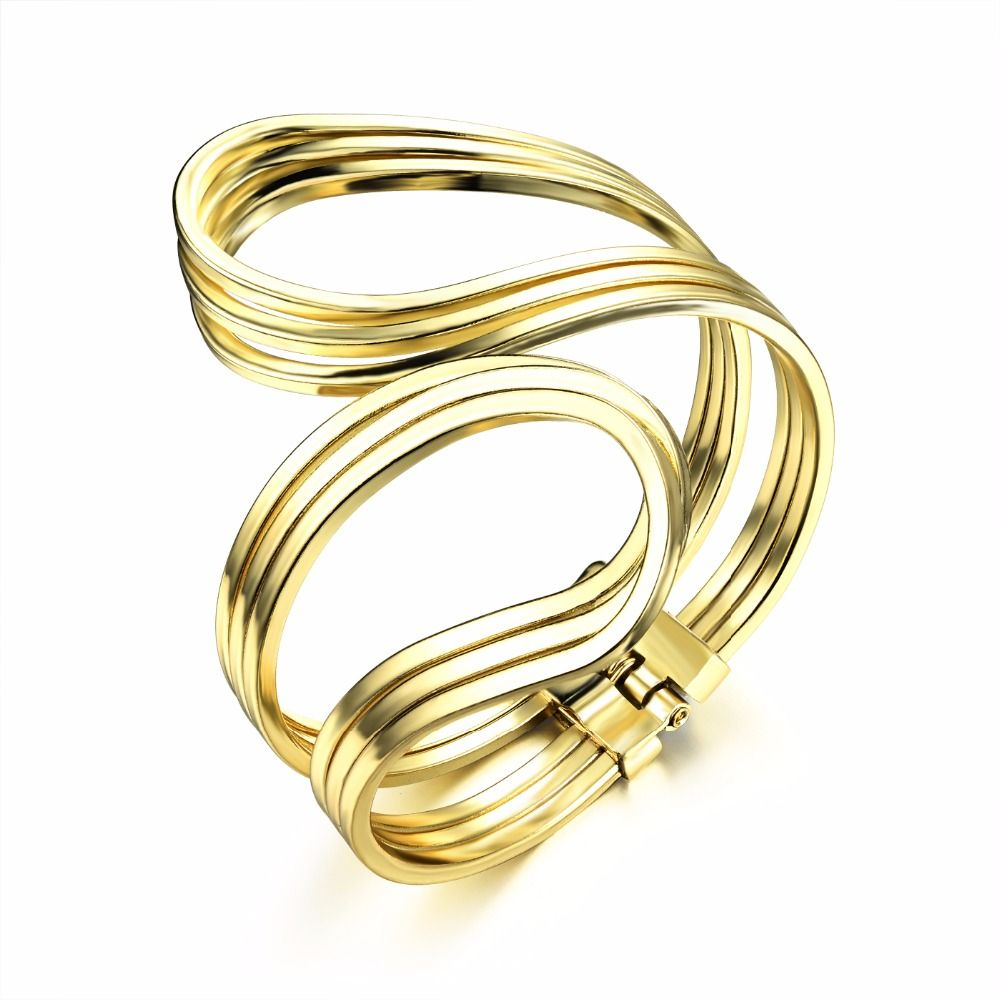 fashion brand gold color copper hollow wave geometric love