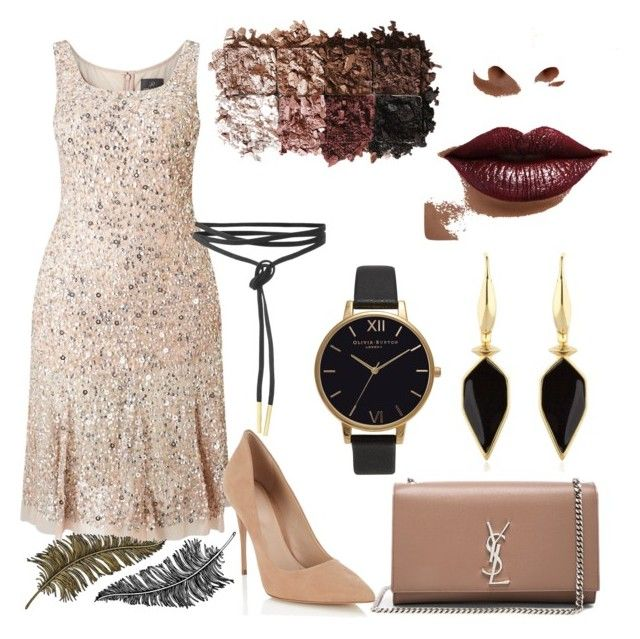 """""""Untitled #111"""" by mrcccu on Polyvore featuring Adrianna Papell, Lipsy, Yves Saint Laurent, Paperself, Isabel Marant, Olivia Burton, LORAC and LASplash"""