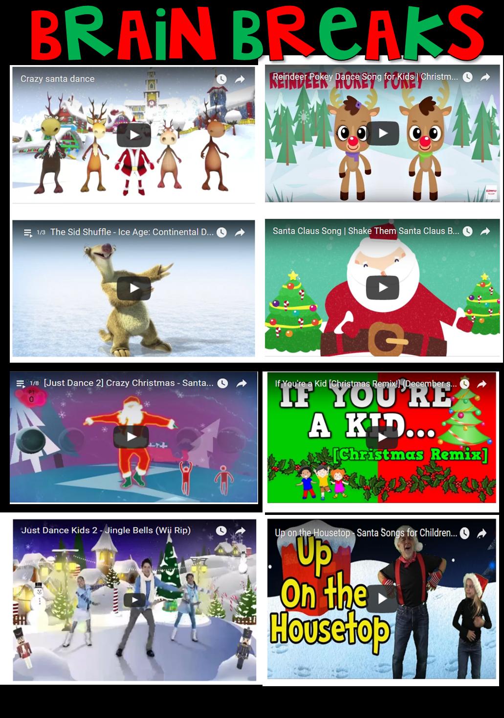 My Favorite Holiday Brain Breaks! http://www.crazyforfirstgrade ...