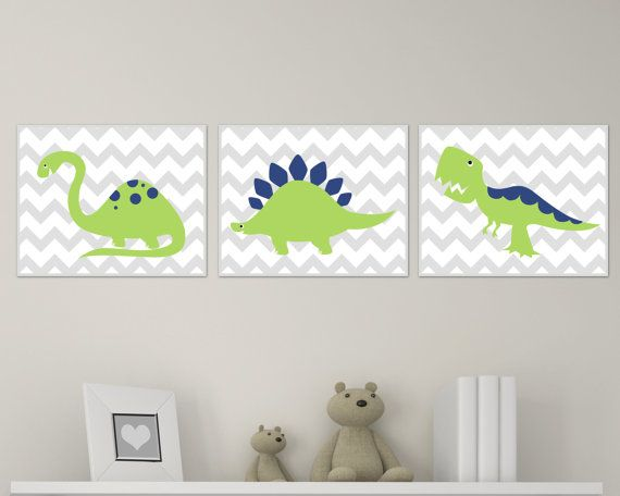 Dinosaur Nursery Art Print Chevron, Green and Navy Dinosaur Baby Art Print and Nursery Wall Art Prints Baby Boy Room Decor Set of 3 H139