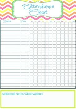 picture regarding Printable Attendance Chart identified as Trainer Attendance Chart Printable - Fast EDITABLE