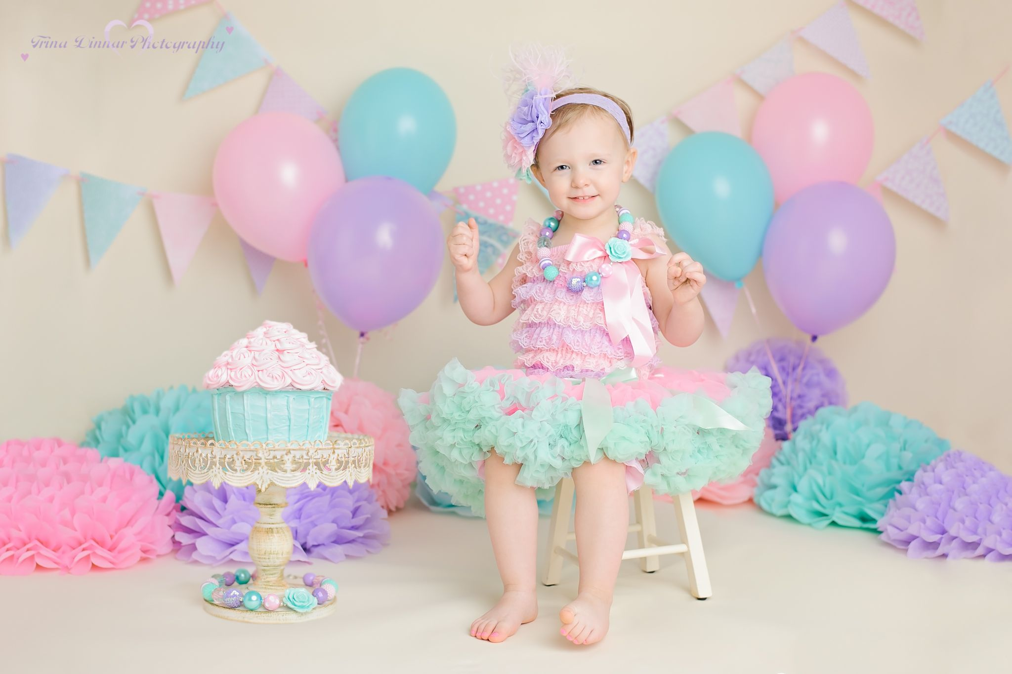 Second Birthday Photography SessionTwo Year Girl Cake Smash Pink Purple Aqua
