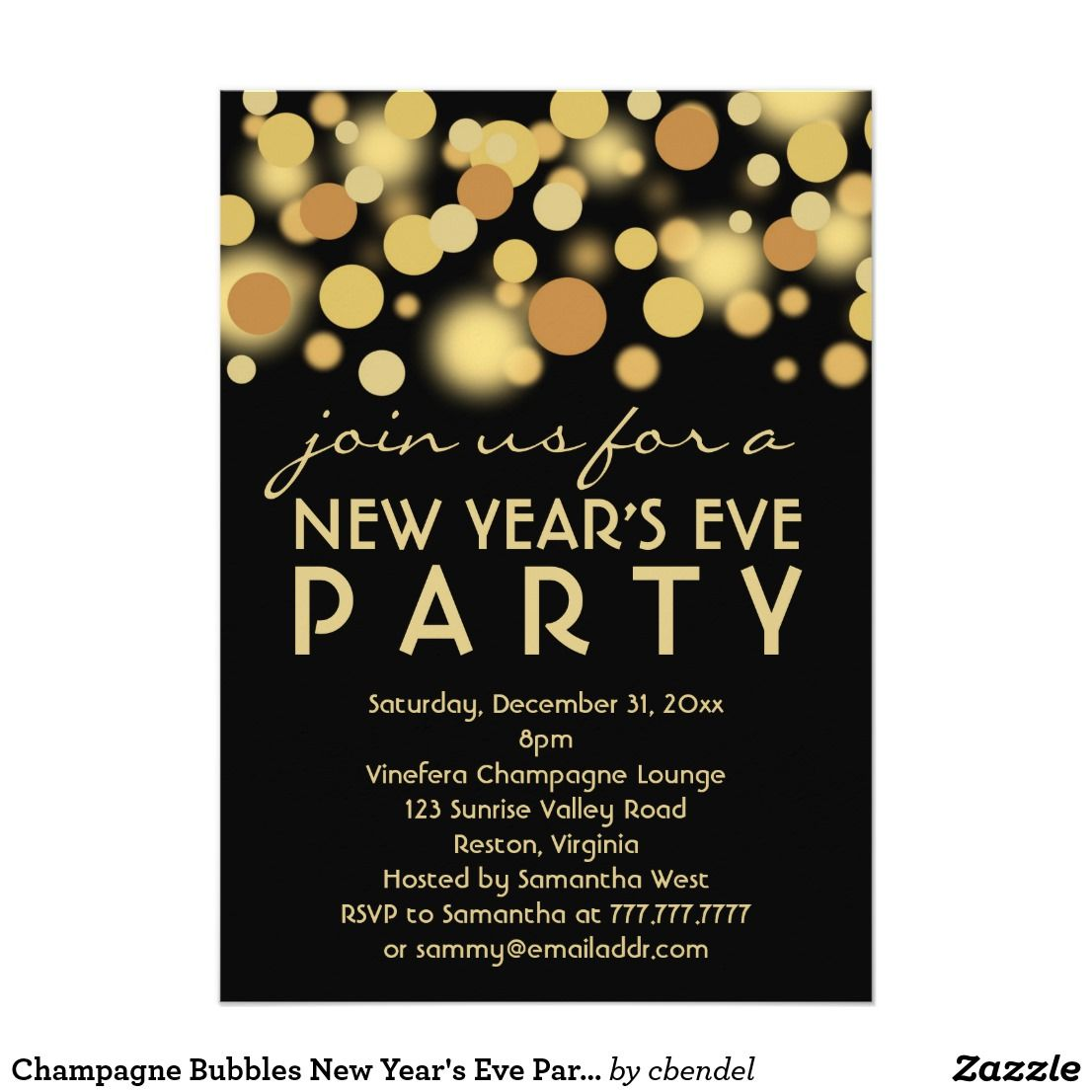 champagne bubbles new years eve party invitationschampagne bubbles new years eve party invitations this modern stylish design features a gold bokeh dot