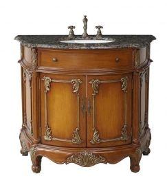 Fully Assembled With Ornate Trim 40 Inch Single Sink Bathroom Vanity With Baltic Brown Granite Single Sink Vanity Bathroom Sink Vanity Unique Bathroom Vanity
