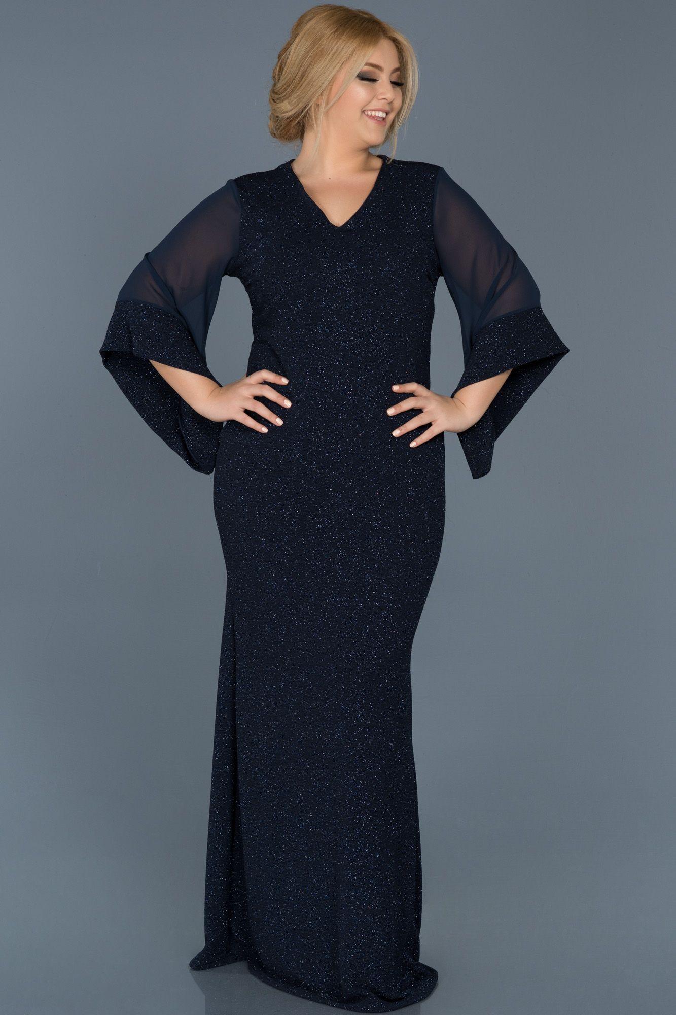 Lacivert V Yaka Simli Buyuk Beden Abiye Abu539 Elbise Modelleri Elbise The Dress