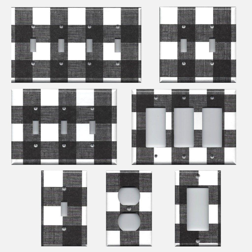 Black and White Buffalo Check Plaid Light Switch Plates