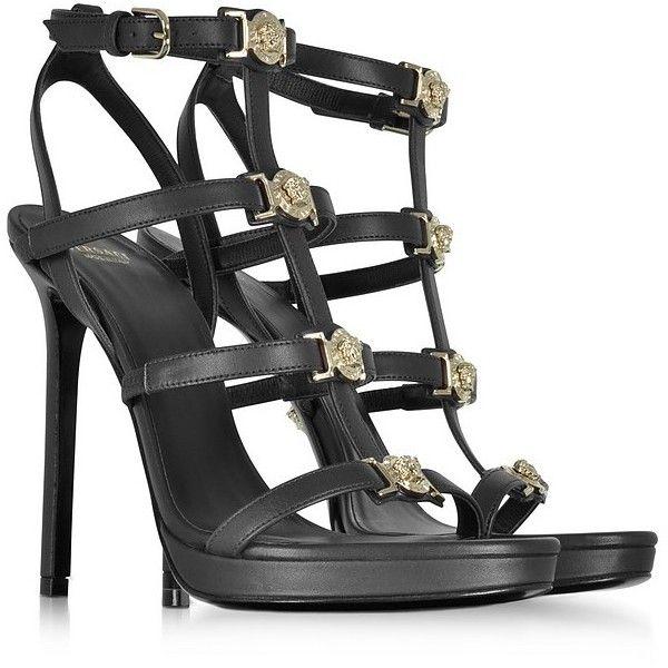 1eeae90bafa Versace Shoes Black Leather Sandal w Light Gold Medusa ( 535) ❤ liked on  Polyvore featuring shoes