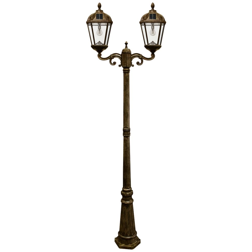 Royal Bulb 89 H Bronze 2 Lamp Solar Led Outdoor Post Light 13x06 Lamps Plus Solar Lamp Post Solar Light Bulb Outdoor Post Lights