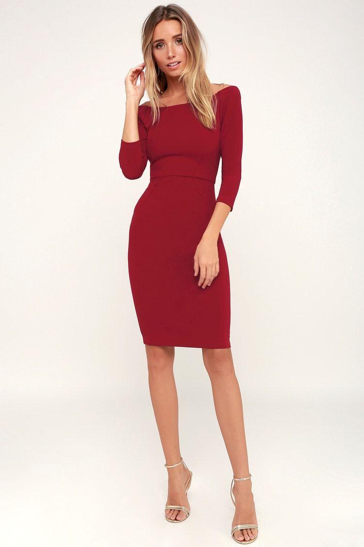 C E O My Wine Red Three Quarter Sleeve Bodycon Midi Dress Midi Dress Bodycon Red Fitted Dress Red Midi Dress [ 1125 x 750 Pixel ]