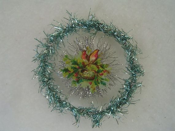 25% SALE OOAK Turquoise Antique German Tinsel 3-D Holly