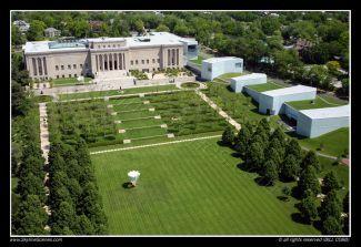Aerial Of Nelson Atkins Museum Of Art With Bloch Addition Kansas City Mo Kansas City Skyline