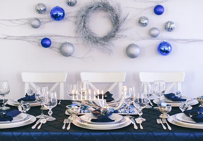 The traditional Hanukkah color scheme of blue and white gets a shiny addition of gleaming silver & The traditional Hanukkah color scheme of blue and white gets a shiny ...