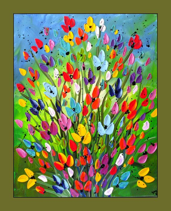 Colorful Flower Painting, Textured Flower Painting on Canvas