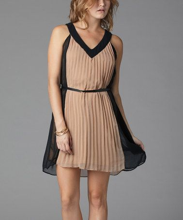Take a look at this Taupe Color Block Belted V-Neck Dress by Soie Shop on #zulily today! $19 !!