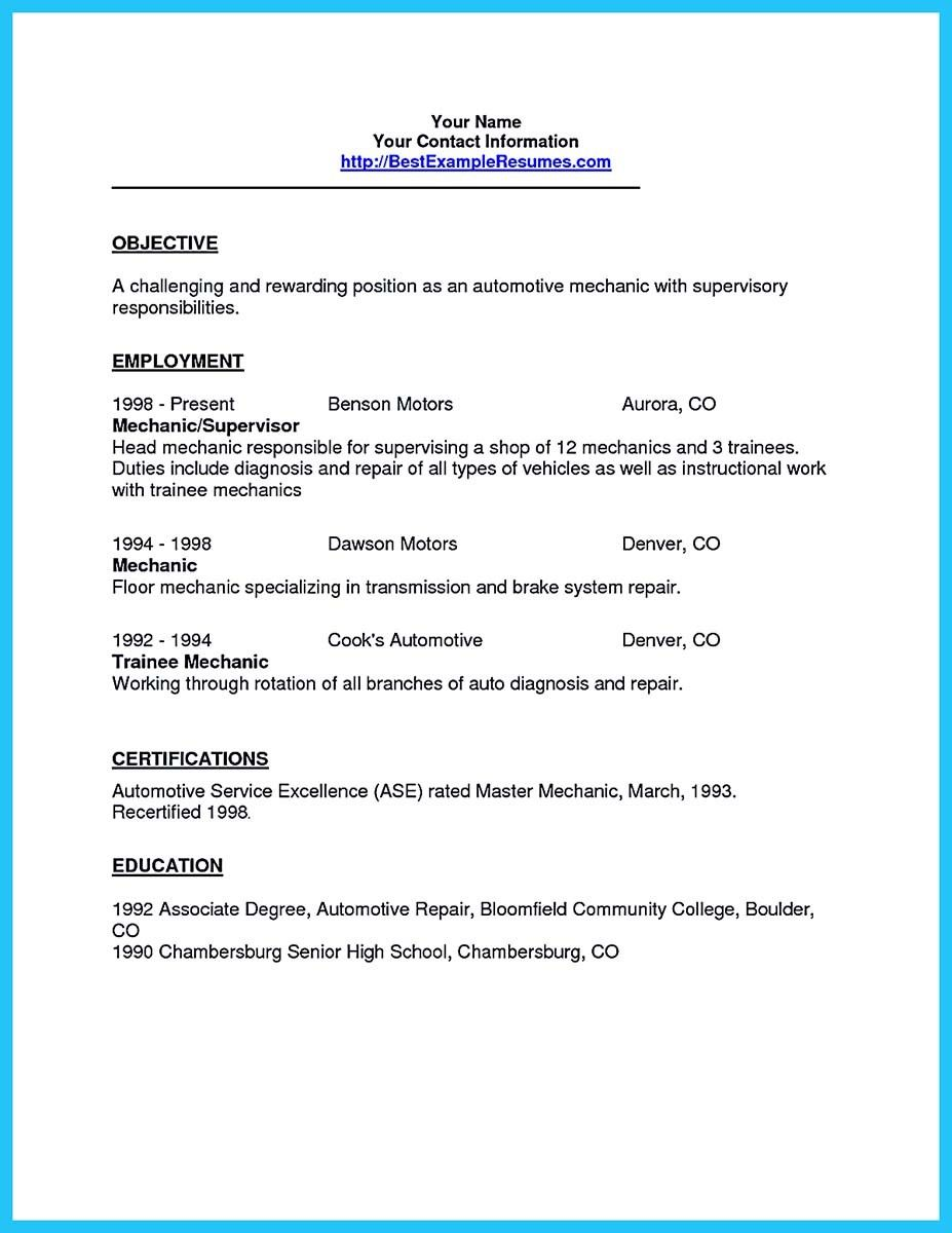 Writing Your Great Automotive Technician Resume (Dengan