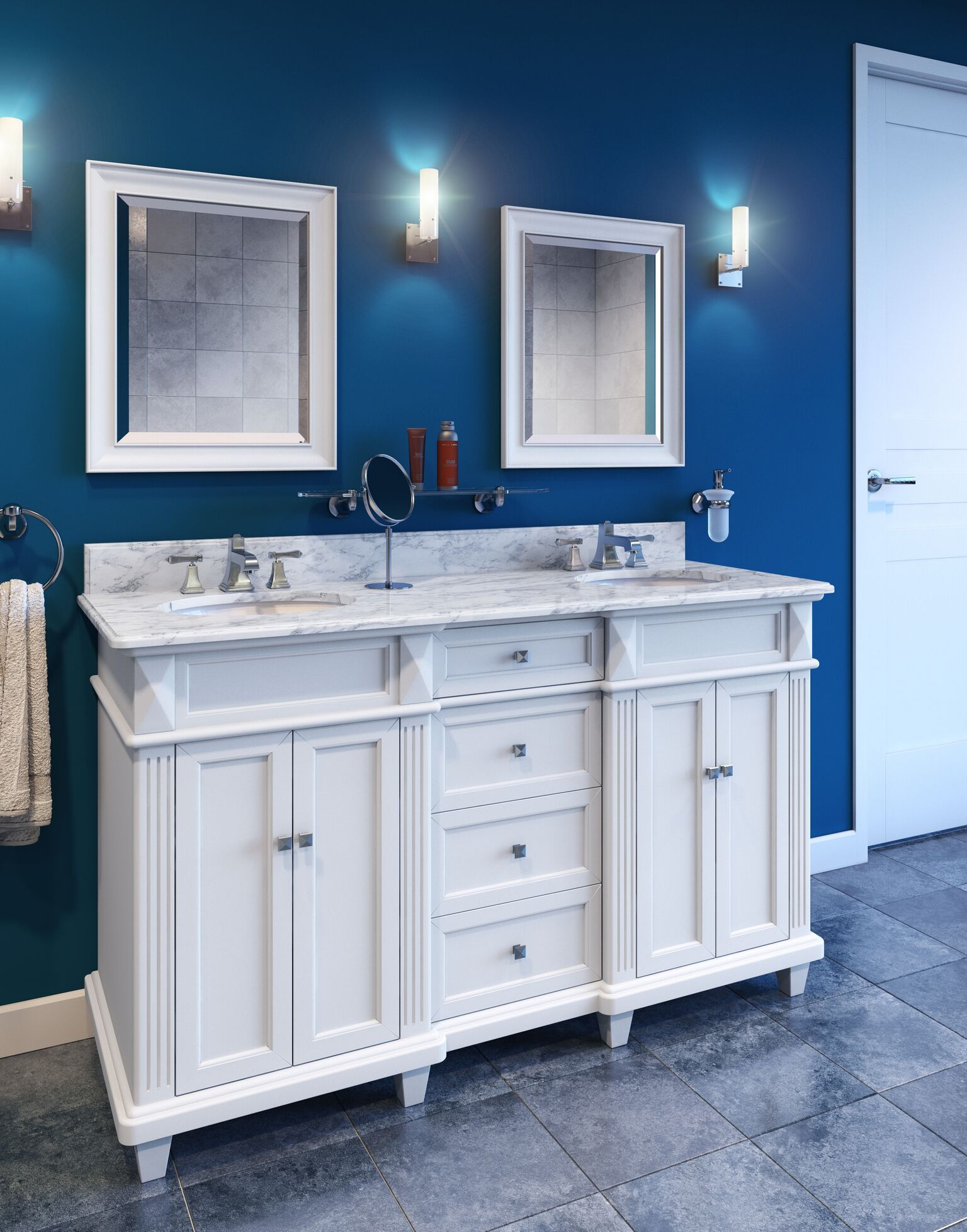 "Douglas- 60"" vanity with sleek white finish, clean lines ..."