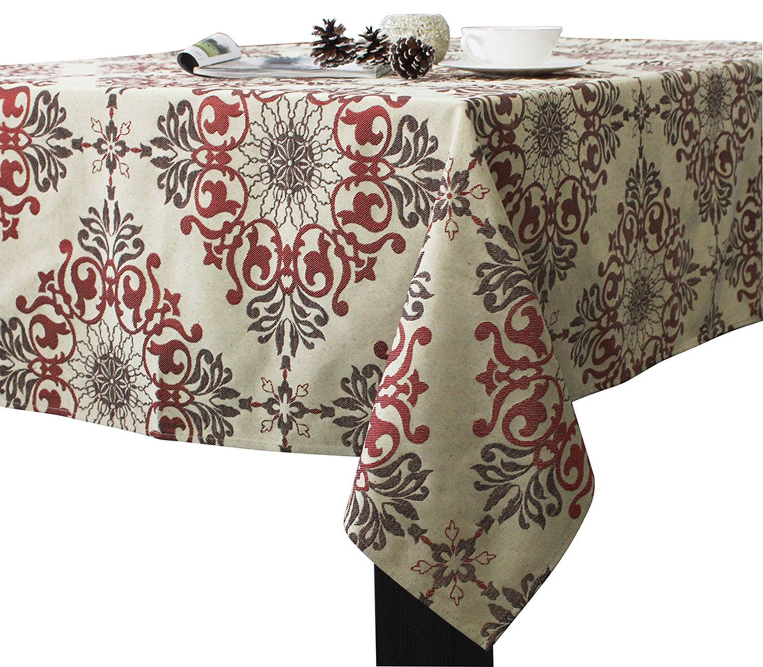 Assorted Sizes Jacquard Fabric Holiday Tablecloths Red Coffee Color By Direct2home New Tablecloth Fabric Table Cloth Jacquard Fabric