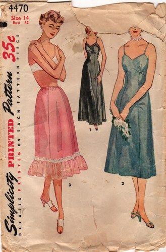 f029e36e3b6b2 50s Simplicity 4470 Misses Princess Seam Slips Pattern Size 14 Bust ...