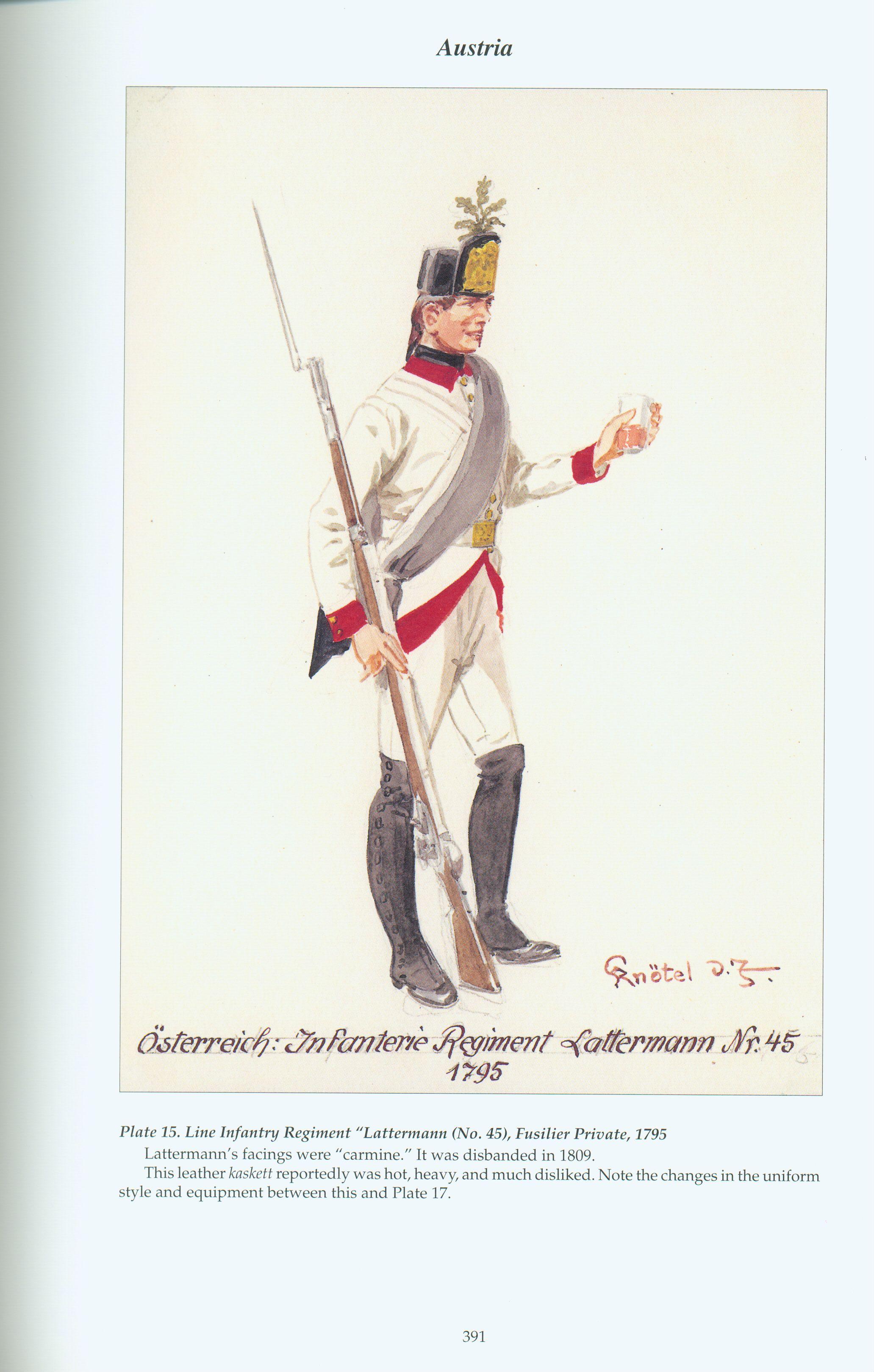 """Austria: Plate 15. Line Infantry Regiment """"Lattermann"""" (No. 45), Fusilier Private, 1795, by Knötel."""