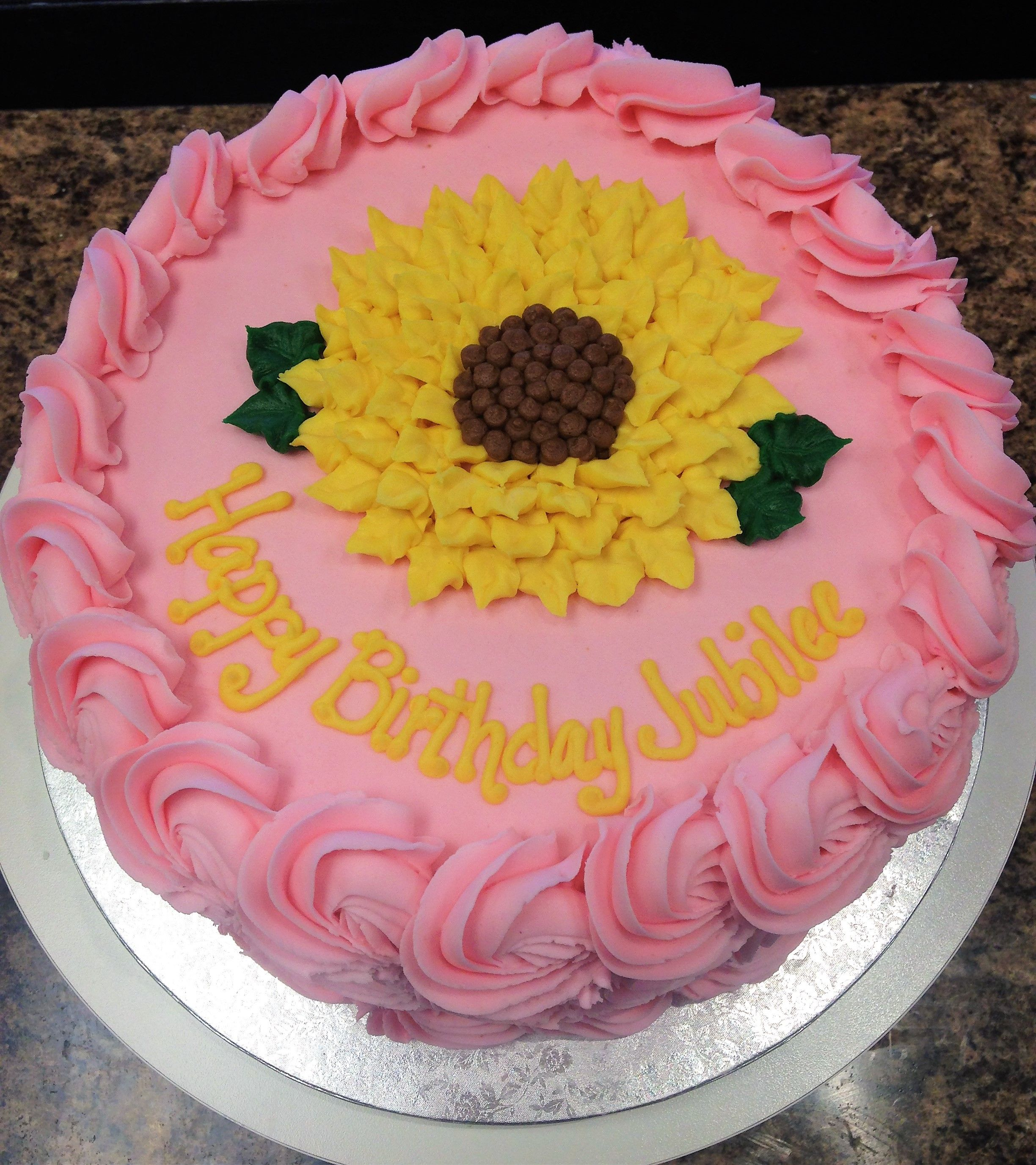 Pink Sunflower Birthday Cake | Sunflower birthday cakes ...