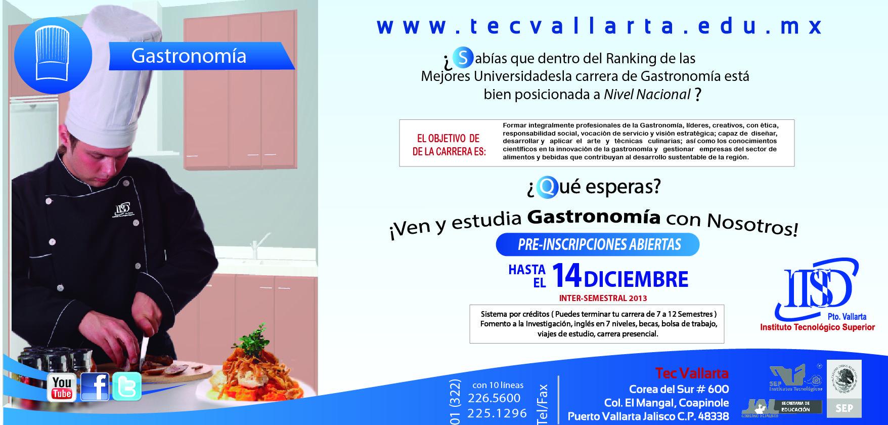 ¿Te interesa el arte culinario? Estudia una Lic. en Gastronomía, pre-inscripciones abiertas en el ITS Puerto Vallarta