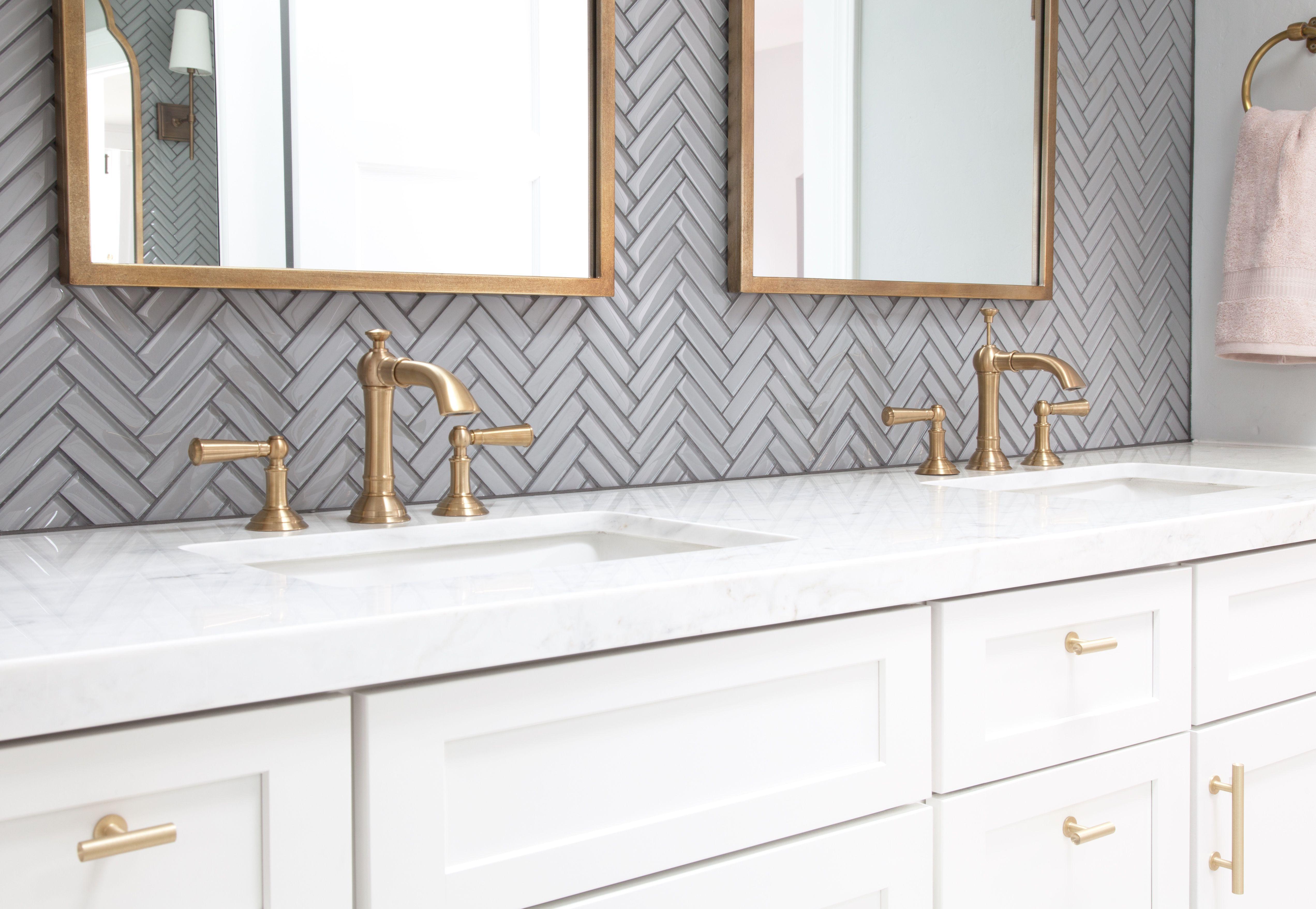 Herringbone Tile Vanity Backsplash Tile Backsplash Bathroom