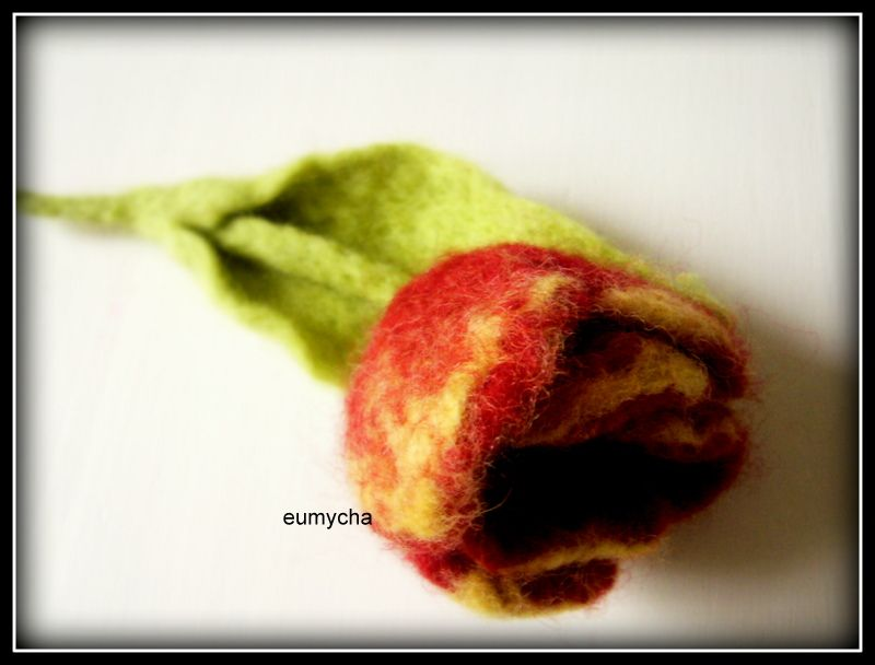 Filcowany Na Mokro Kwiat Broszka Tulipan Www Robotkowyswiatmychy Blogspot Com Felt Apple Fruit