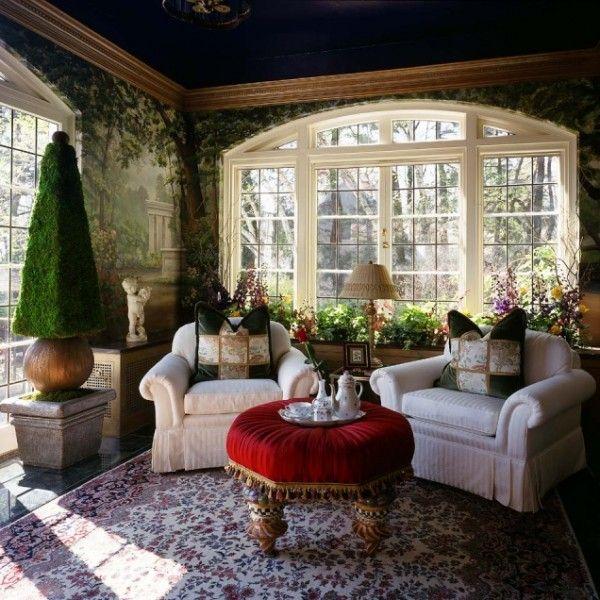pflanzen-wintergarten-ideen-teppich-essmoebel-holz-licht   Interieur ...