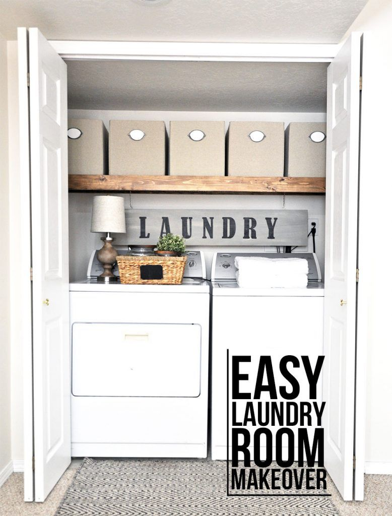 This laundry room makeover transforms this little closet with wasted space into a functional laundry area with just a few simple changes