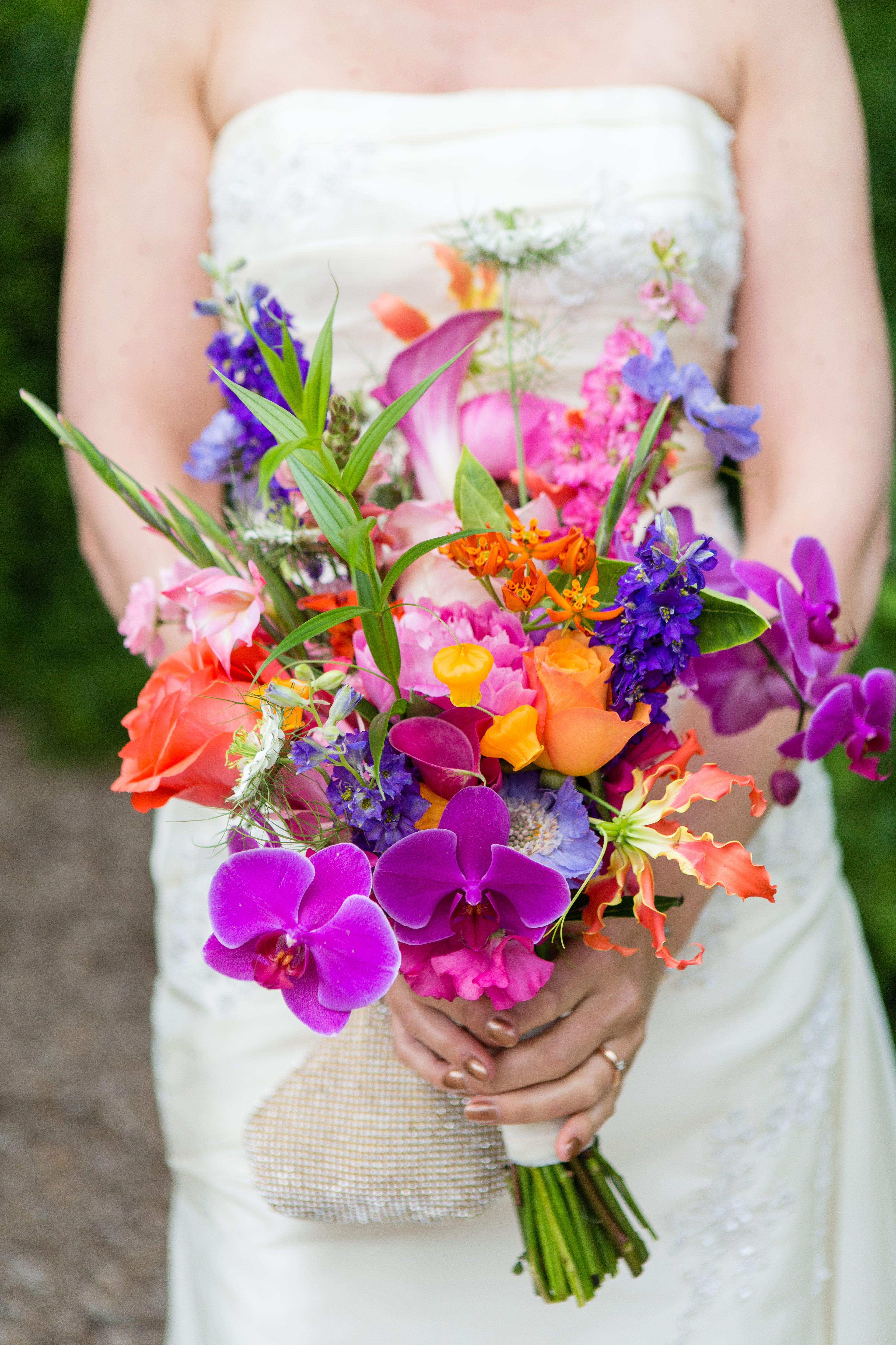 Multicolour And Vibrant Wedding Bouquet With Flowers