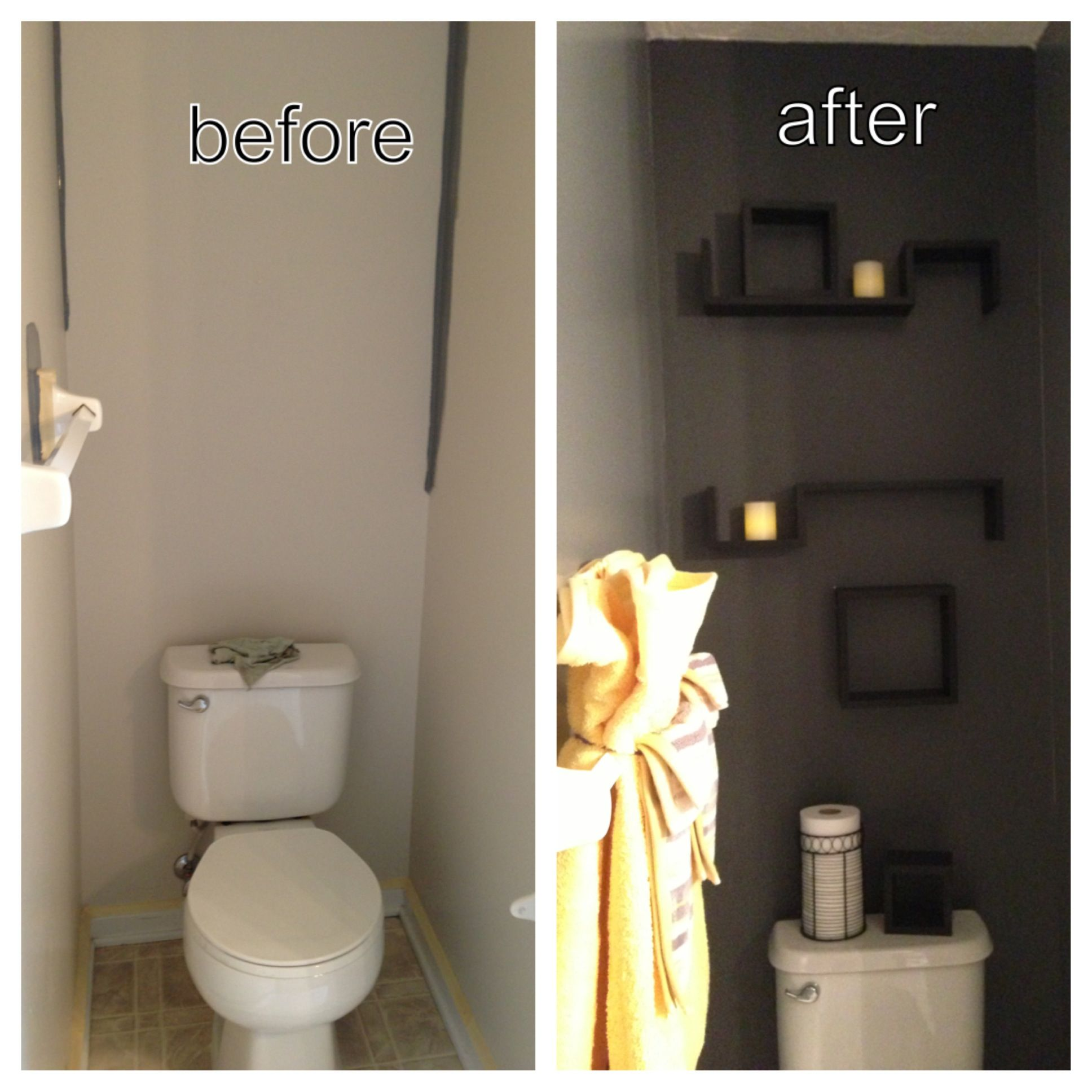 My master bathroom walls behr magnetic gray accent back for Charcoal bathroom accessories