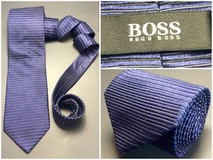 HUGO-BOSS-Designer-Navy-Blue-THICK-Silk-Ribbed-Neck-Tie-Made-in-ITALY