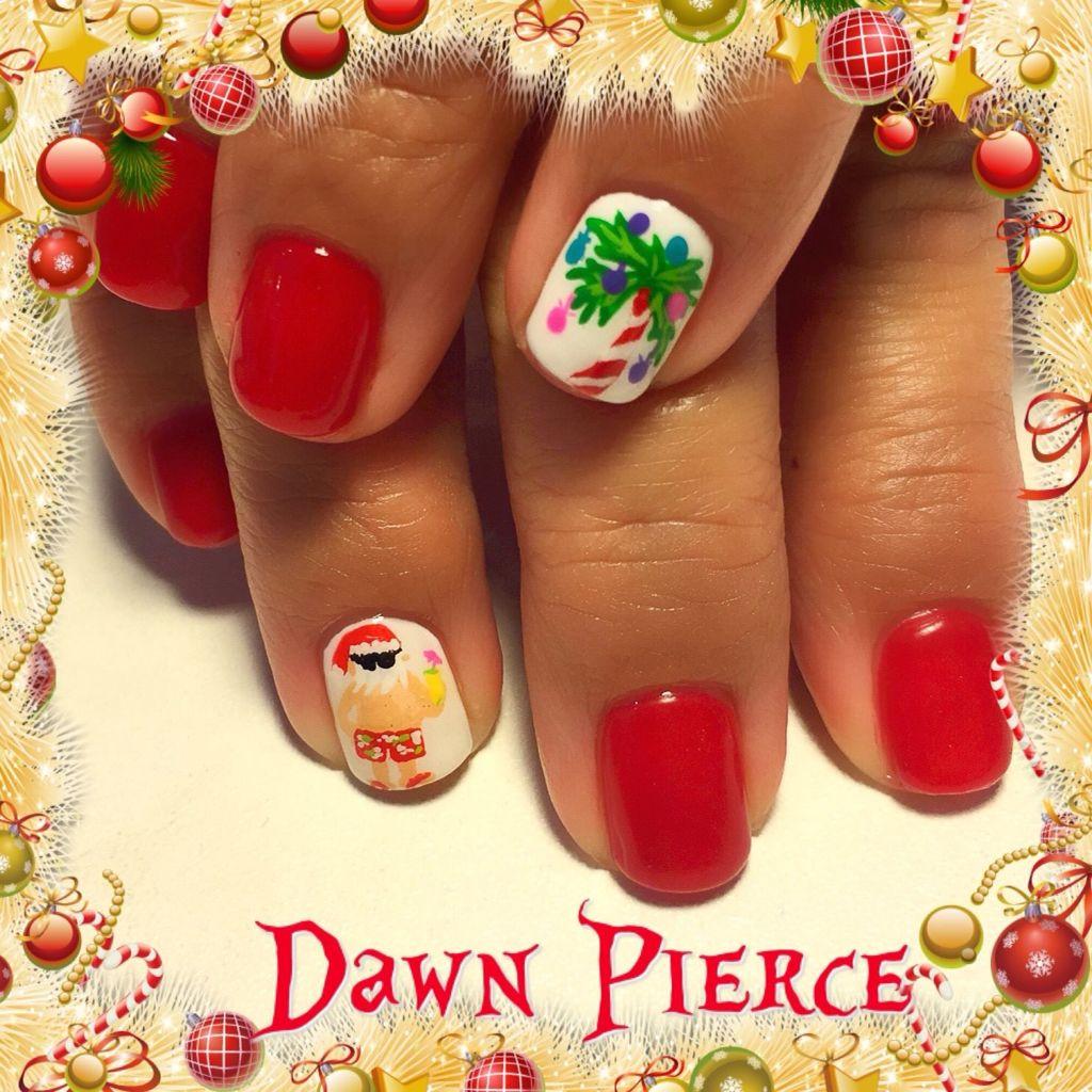 Summer Santa Nail Art Tropical Christmas Nail Art Santa Nail Art Christmas Nail Art Dawn Peirce Christmas Nails Santa Nails Cruise Nails