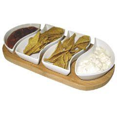 bamboo chip and dip dish