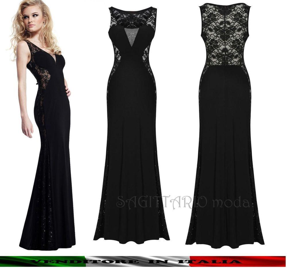 Abito da sera lungo Maxi vestito cerimonia elegante SEXY nero capodanno  pizzo a15792dd00a
