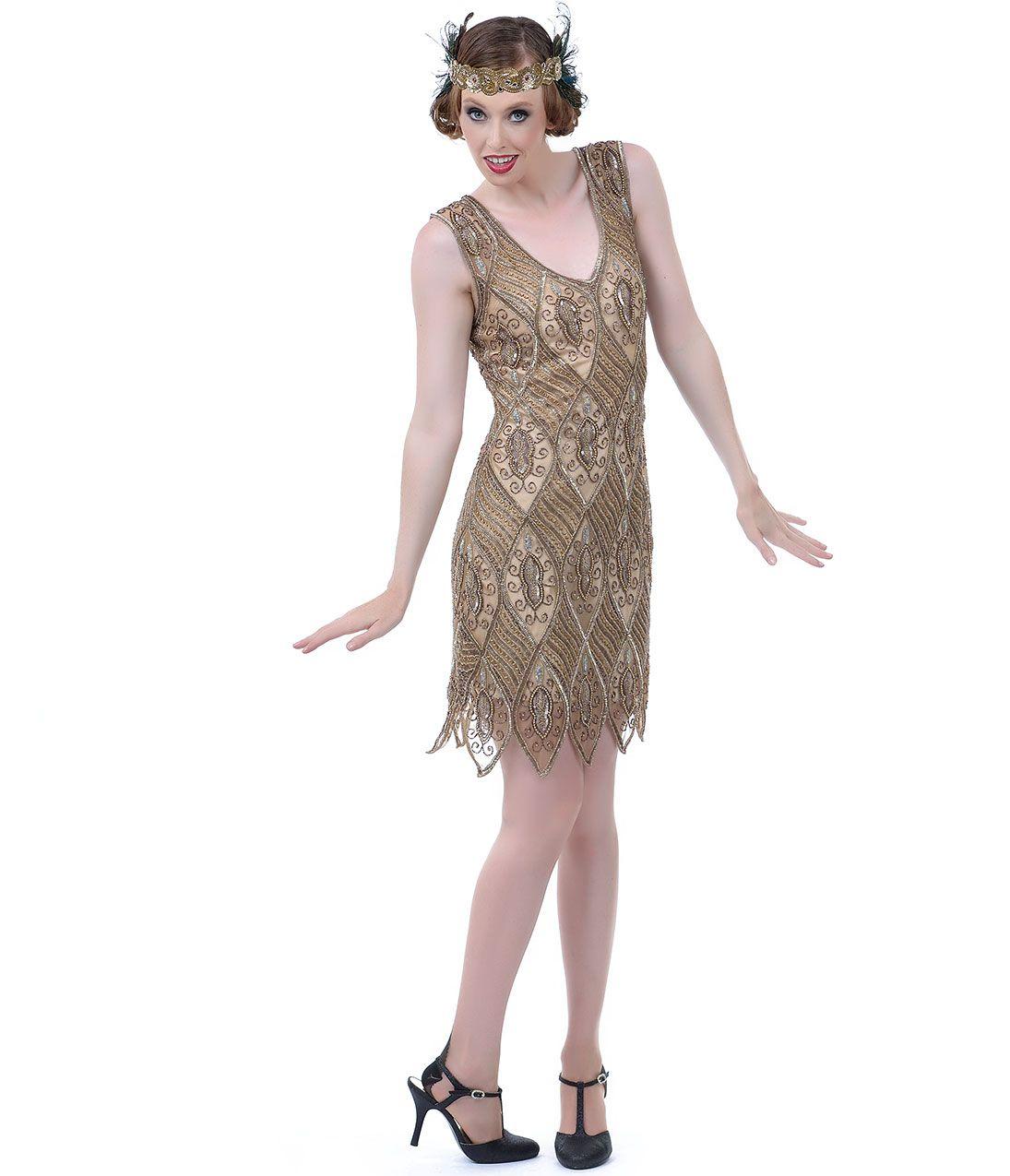 1920s Bronze & Pewter Art Deco Flapper Dress #uniquevintage ...
