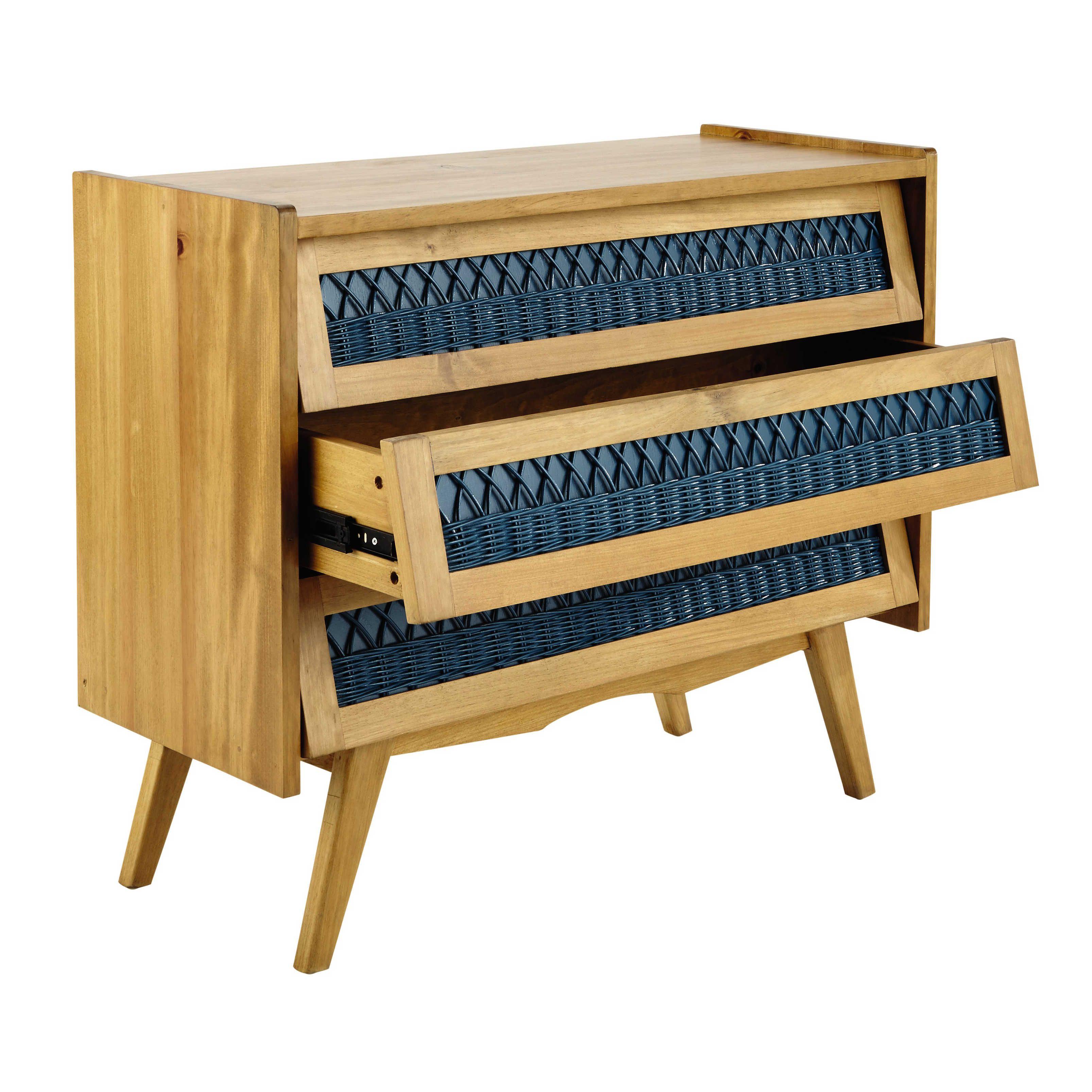 Commode vintage en bois et rotin turquoise L 91 cm Florida | Maisons ...