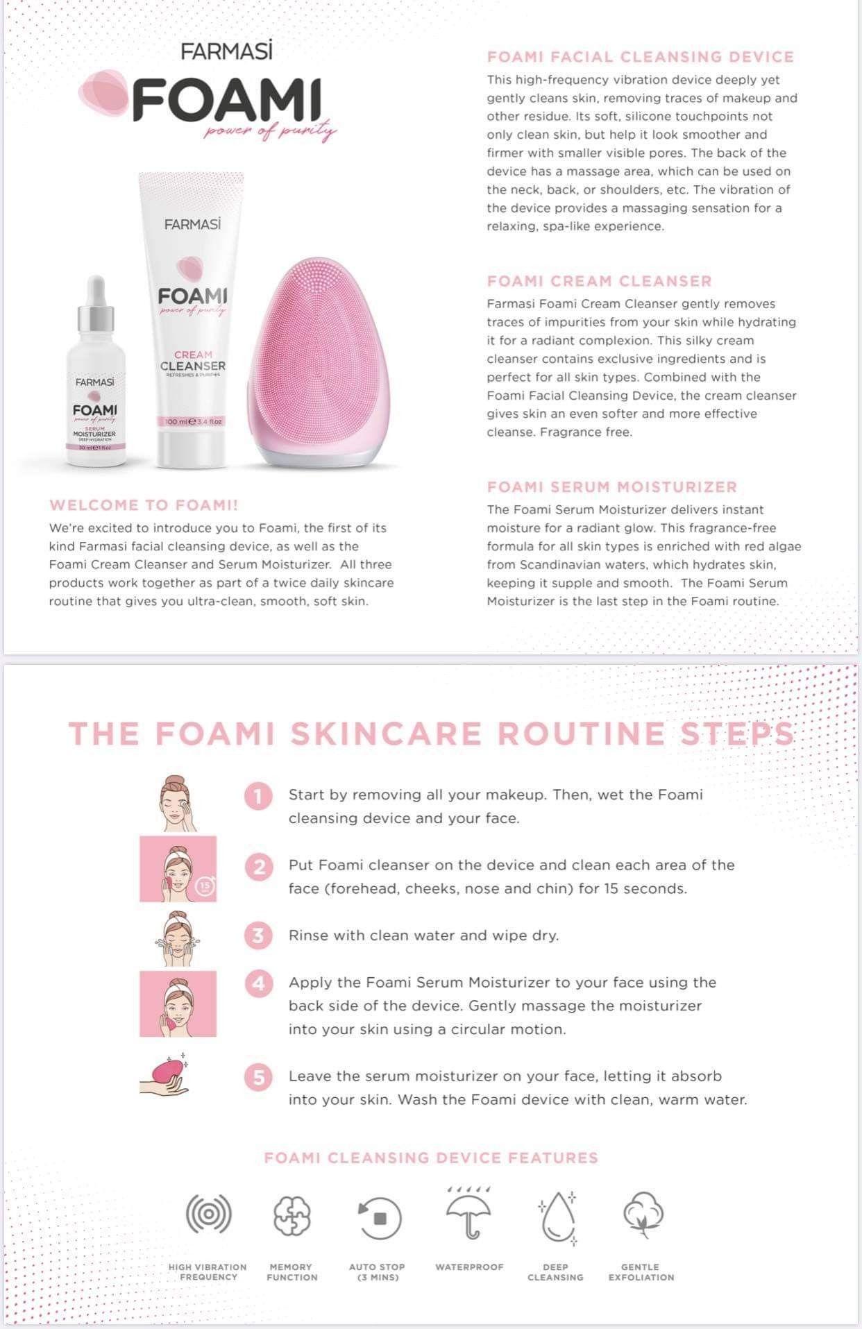 Farmasi foami clean cleanser foami serum moisturizer