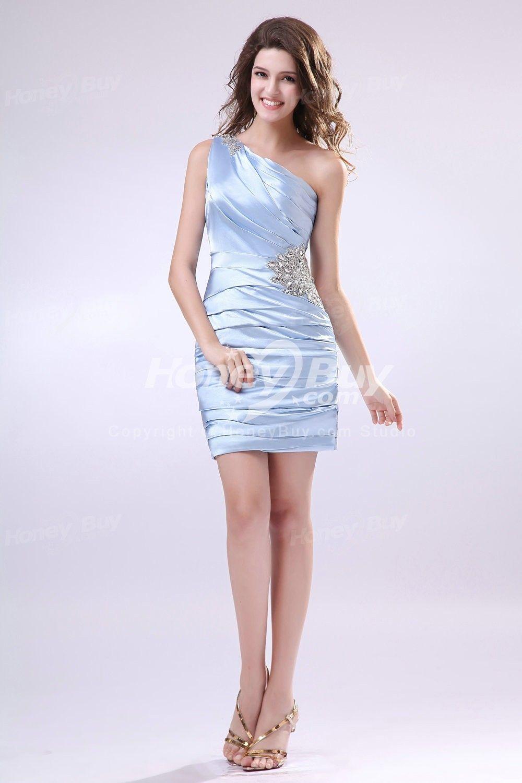 One Shoulder Beading Light Lavender Satin Cocktail Dresses $372.99 Latest Cocktail Dresses