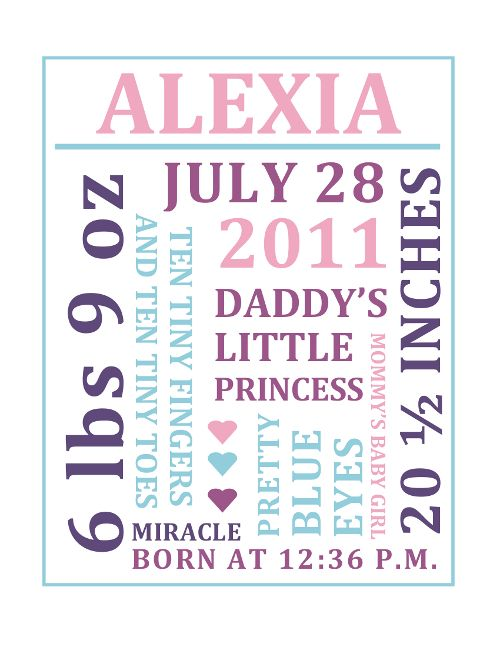 Birth Announcement Baby Keepsake Boy Or Girl Nursery Print Birth Stat Shower