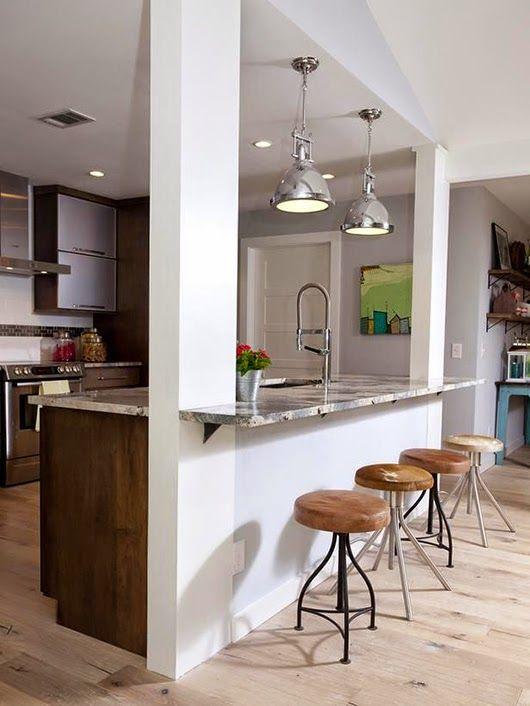 Ideas deco c mo decorar aprovechando pilares y columnas for Tabla de la barra de la cocina de separacion