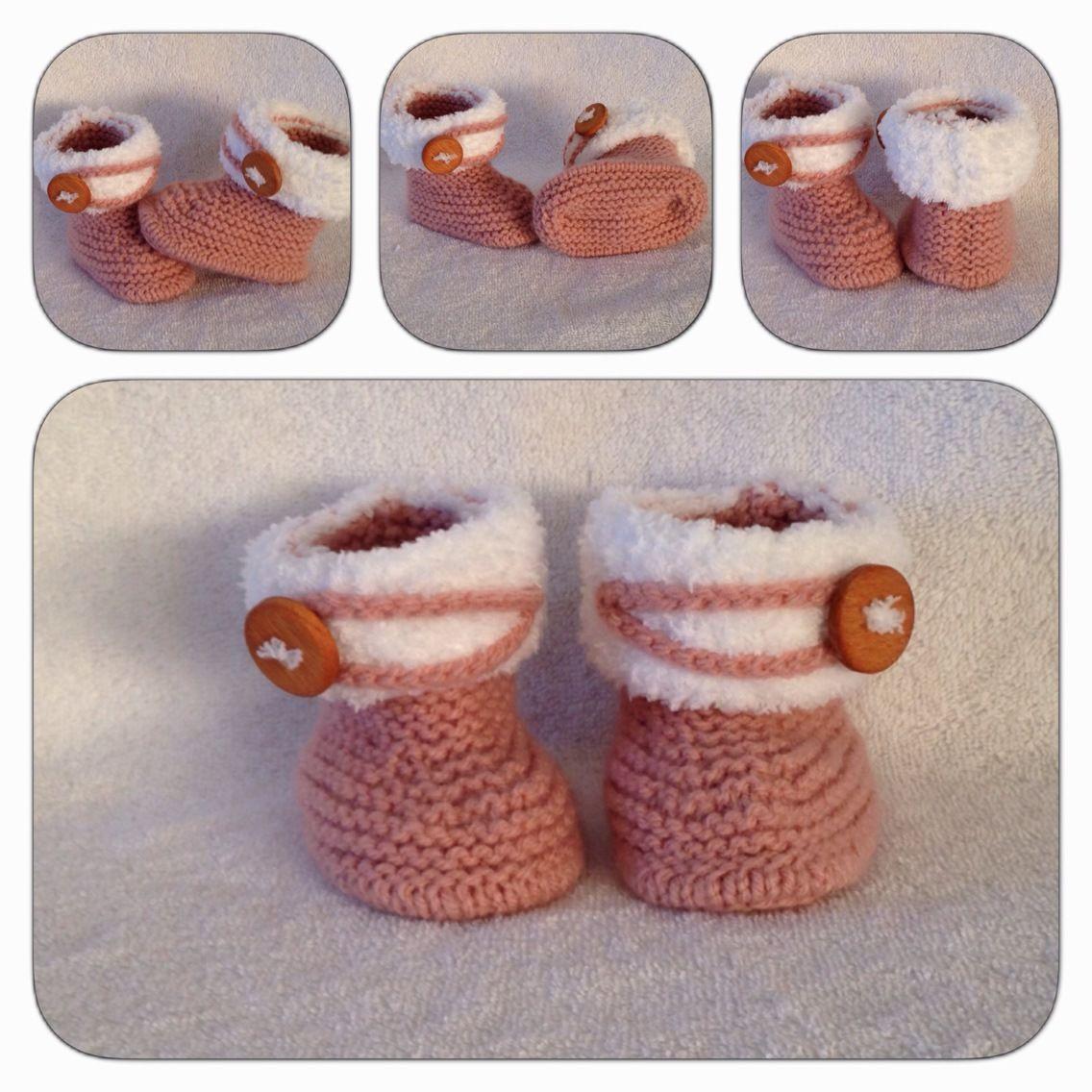 Petits bottines vieux rose et blanc taille 1/3 mois : Mode Bébé par tricoco