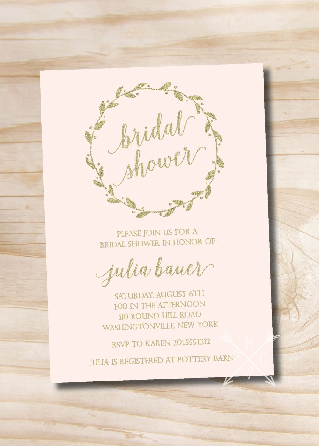 Blush and Gold Glitter Wreath Bridal Shower Invitation - Printable Invitation by PaperHeartCompany on Etsy
