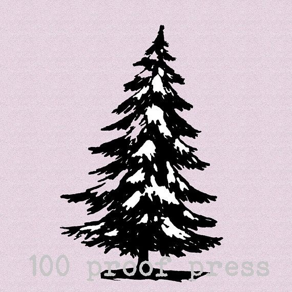 Snowy Fir Tree Rubber Stamp 2113 Etsy In 2020 Fir Tree Black Printer Ink Stamp