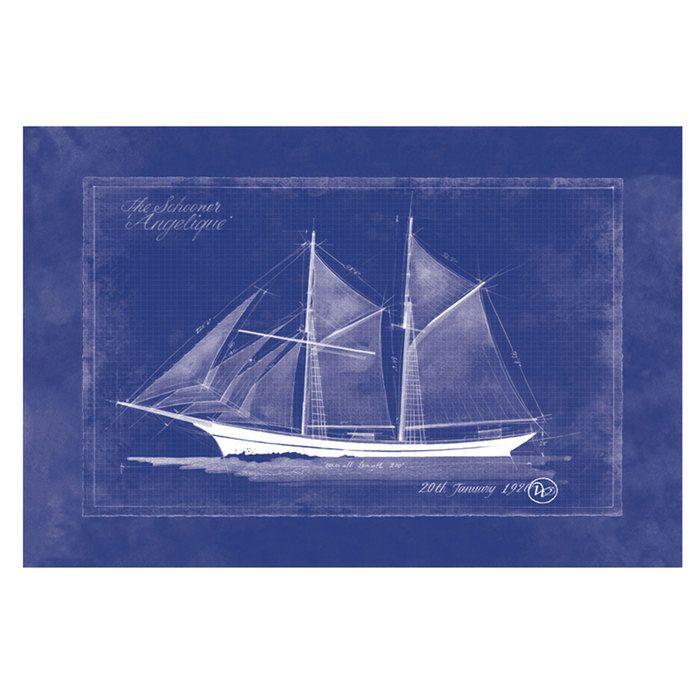 24 X 36 Schooner Angelique Blueprint Poster Blueprints Coastal Decor Poster